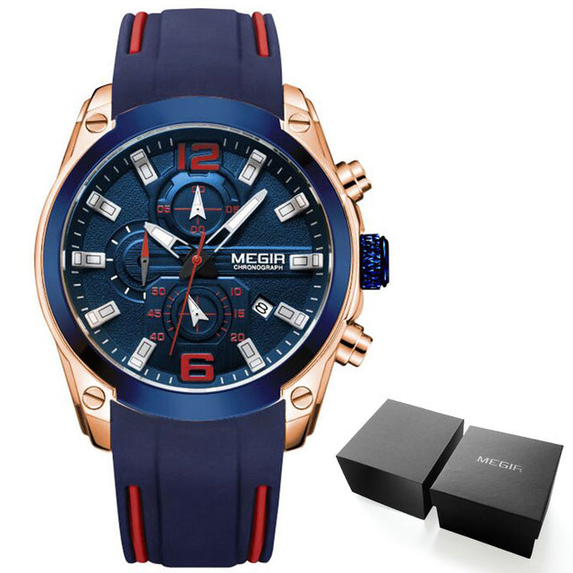 Luminous Diver Men's Watch Chronograph Analog Quartz Watch with Date, Luminous Hands, Waterproof Silicone Rubber Strap Wristwatch for Man - Center Of Treasures