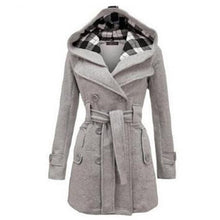 Women Coat Thick Jacket Double Breasted Slim Hoodie Solid Casual Belt Pockets Outerwear - Center Of Treasures