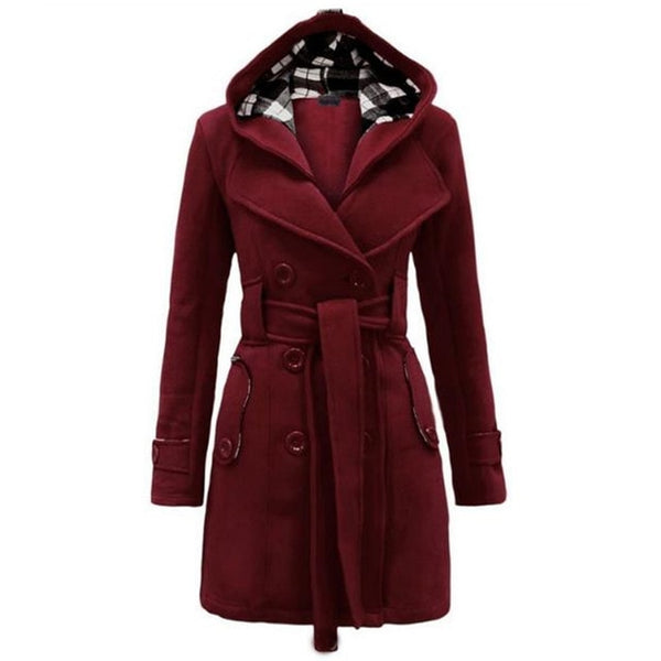 Women Coat Thick Jacket Double Breasted Slim Hoodie Solid Casual Belt Pockets Outerwear