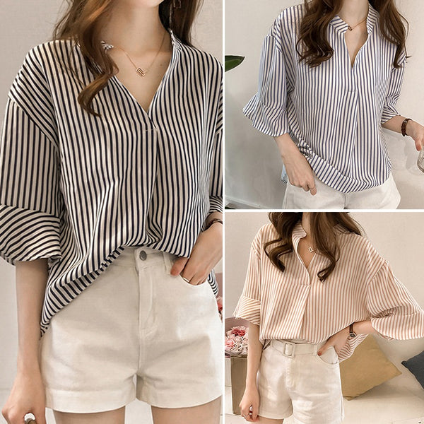 Women Tunic Top Oversize Blouse Button Down Stripe Casual Shirts Plus Size Pockets - Center Of Treasures