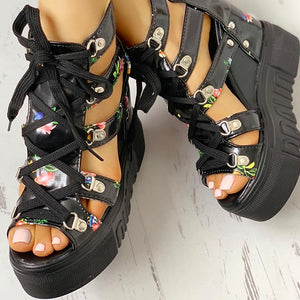 Women Shoes Sandals Wedges Platform High Heels Casual Ankle Strap Sandals Gladiator - Center Of Treasures