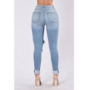 Glistening Jeans Women's Plus Size Elastic Slim Denim Pants With Torn Holes Pencil Jeans - Center Of Treasures