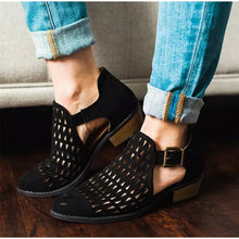 Women's Plus Size Hollow out Boots Buckle Retro Hollow Out Casual Thick Low Heels Breathable Shoes - Center Of Treasures