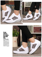 Women Shiny Chunky Sneakers Casual Shoes Platform Wedge Walking Height Increasing Lace Up Shoes