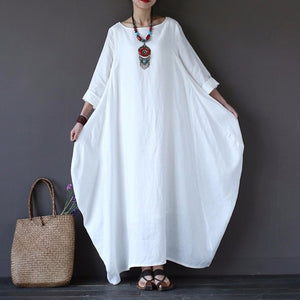 Bat Sleeve Casual Long Dress Plus Size Oversize Loose O-neck Boho Long Sleeve Maxi - Center Of Treasures