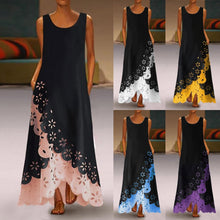 Casual Round Neck Hollow Out Splicing Irregular Sleeveless Dress Plus Size Summer Party Dress Vintage Long Dresses - Center Of Treasures