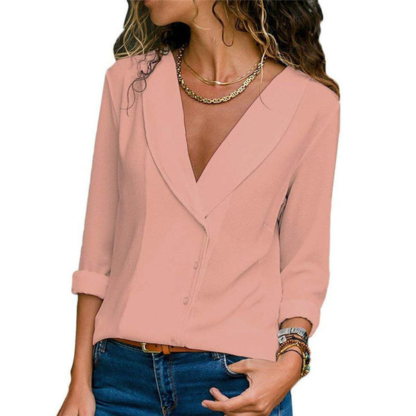 Women Casual Chiffon V Neck Tops Blouses Long Sleeve Fashion Ruffles Shirt - Center Of Treasures