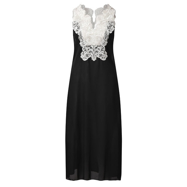 Casual V Neck Splicing Lace Hollow Out Sleeveless Dress Vintage Elegant Long Maxi Dress - Center Of Treasures