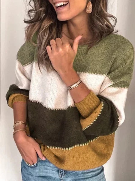 Color-block Pullovers Striped Shift Casual Sweater Knitted Sweater For Women Long Sleeves Loose - Center Of Treasures