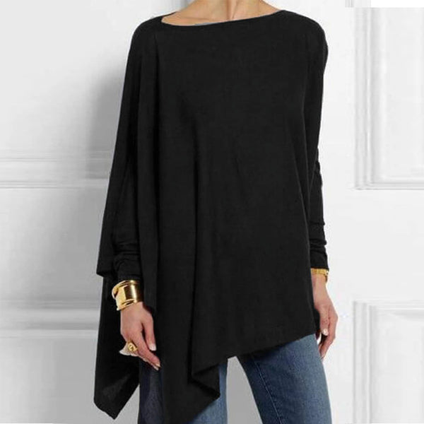 Women Plus Size Tunic Tops Irregular Hem Loose Shirts Casual O Neck Long Sleeve Blouse - Center Of Treasures