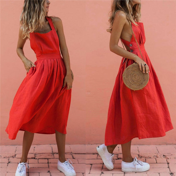 Summer Sundress Boho Strappy Long Maxi Dress Sexy Backless  Red Dress Beachwear - Center Of Treasures