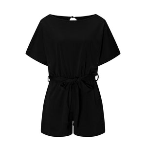Lace Jumpsuit Short Sleeve High Waist Wide Leg Classy Romper Overalls Shorts - Center Of Treasures