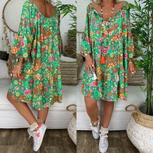 Plus Size Loose Dress Floral Mini Shirt Dress Long Sleeve Casual Bohemian Printed V Neck Vintage