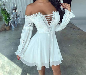 Mesh Lace Ruffle Dress Leafy Embroidered Casual Prom Summer Teens Bridesmaid Homecoming - Center Of Treasures