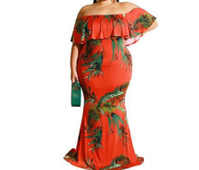 Sunflower Maxi Dress Plus Size Off Shoulder Leaf Print Long Slash Neck Ruffles Slim Boho Elegant Skinny Outfits - Center Of Treasures