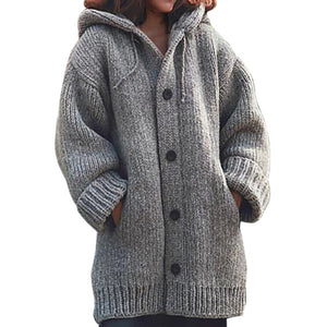 Knitted Cardigan Sweater Coat Plus Size Outerwear Oversize Knitwear Button Down Hooded - Center Of Treasures