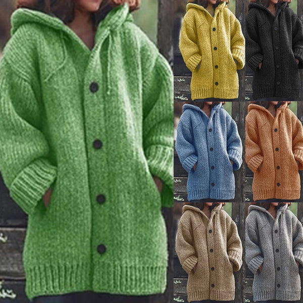 Knitted Cardigan Sweater Coat Plus Size Outerwear Oversize Knitwear Button Down Hooded