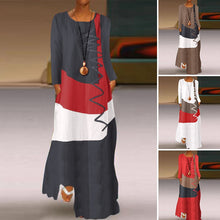 Plus Size Maxi Dress Casual Long Sleeve Tunic Cotton Linen Autumn Sundress Stitching - Center Of Treasures