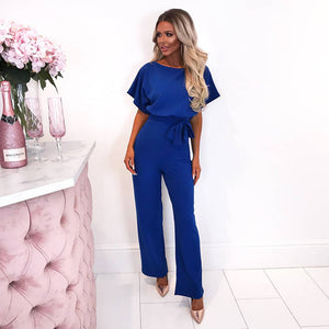 Lace Up Plus Size Formal Jumpsuits For Wedding Elegant Summer Red Plus Size Loose Women Bandage Long Overalls High Waist - Center Of Treasures