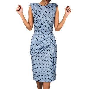 Spring And Summer New Women Sexy Package Hip Dress Skinny Wave Dot Sleeveless Dress - Center Of Treasures