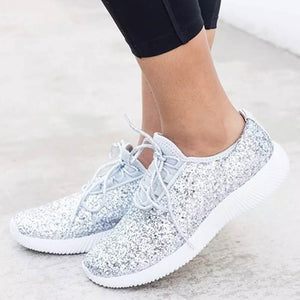 Women Sneakers Bling Casual Shoes Summer Glitter Sparkly Shoes - Center Of Treasures