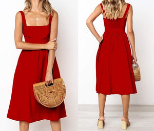 Casual Solid Dress Women Midi Long Summer Sexy Backless Slip Dresses - Center Of Treasures