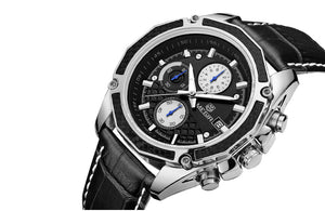 Men Watches Leather Watches Quartz Students Chronograph Glow Watch - Center Of Treasures
