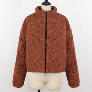 Thick Teddy Women Coat Casual Plus Size Zipper Soft Outwear Long Sleeve Jacket Faux Fur - Center Of Treasures