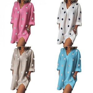 Plus Size Casual V Neck Long Sleeve Pockets Dresses Dot Print Loose Dress - Center Of Treasures