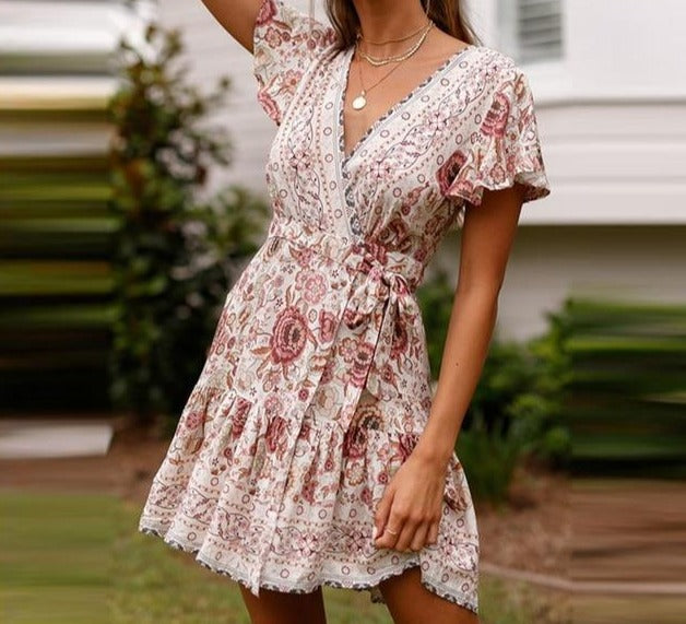Bohemian Floral Mini Dress Summer V Neck Ruffle Bandage Dress Elegant Holiday Beach Sundress - Center Of Treasures