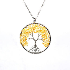 7 Chakra Natural Rainbow Stone Tree Of Life Pendant Necklace For Women Men Vintage Handmade Long Chain Statement Jewelry Gift