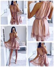 Sleeveless Dress Casual Ruffled Sash Mini Dress Buttons Chiffon Beach Dress - Center Of Treasures