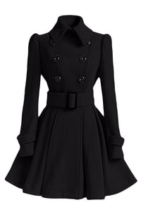 Women Winter Dress Coat Belt Buckle Jacket Trench Coat Double Breasted Casual - Center Of Treasures