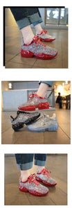 Women Sneakers Rhinestone Design Shoes Dad Chunky Platform Sneakers Fashion Casual Thick Bottom Vulcanized - Center Of Treasures