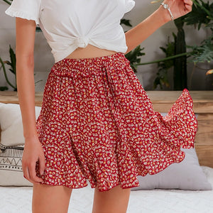 Mini Skirt Cute Pink Casual Polka Dot Ruffle Summer A Line High Waist Pleated Short Skirt Floral Print Beach Skirt - Center Of Treasures