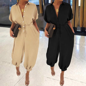 Women Vintage Jumpsuits Rompers Overalls Playsuits Plus Size Short Sleeve Casual Loose Cargo Pants - Center Of Treasures