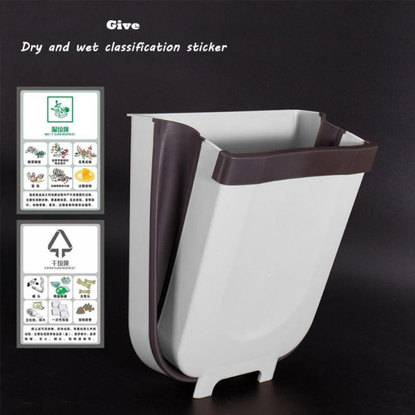 Kitchen Waste Bin Folding Cabinet Door Hanging Trash Bin Wall Mounted Trash Can - Center Of Treasures