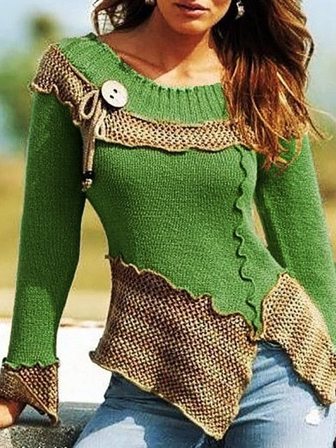 Long Sleeve Sweater Women Knitted Patchwork Button Pullover Tops - Center Of Treasures