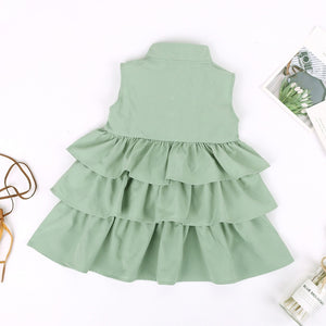 Newborn Kids Baby Girls Dress Sleeveless O Neck Ruffle Tutu Bubble Dresses Summer Clothes - Center Of Treasures
