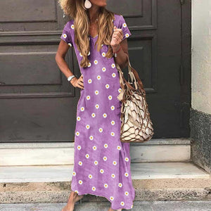 Maxi Dresses Plus Size Long Casual Sundress Boho Indian Floral V Neck Short Sleeve Summer Beach Dress - Center Of Treasures