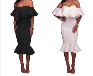 Solid Flare Mermaid Body-con Dress Off Shoulder Ruffle Midi Slim Pencil Bodycon Dress