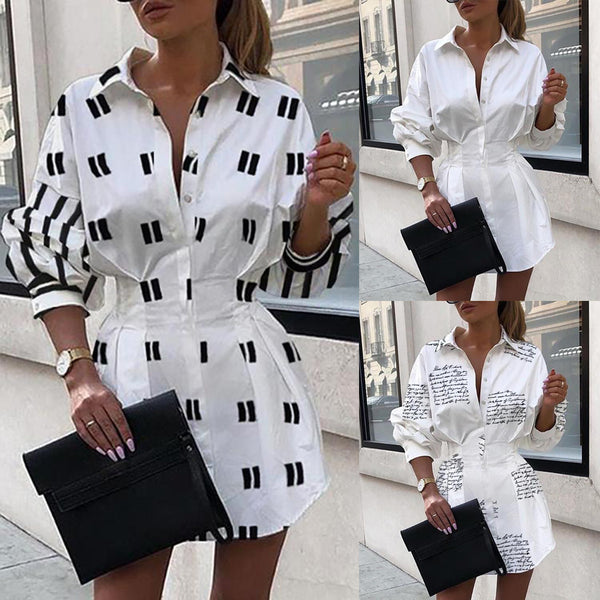 Casual Blouse Shirt Dress A-Line Swing Button Long Sleeve Loose Tunic Long Top Women - Center Of Treasures