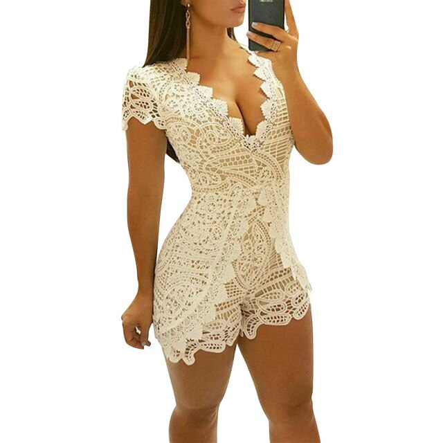 Women Elegant Lace Playsuit Jumpsuit Romper Bodysuit V-neck Short Pants