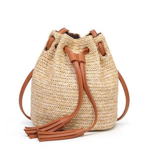 Women Straw Bags Beach Handbags Rattan Shoulder Bags Handmade Knitted Travel Big Bohemian Totes Bag - Center Of Treasures