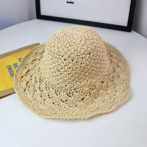 Women Summer Hats Sun Beach Panama Straw Hat Wide Wave Brim Folded Hat - Center Of Treasures