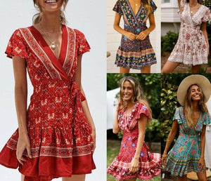 Summer Floral Dress Vintage Casual V Neck Button Dress Ruffle Short Sleeve A-line Sexy Boho Print - Center Of Treasures