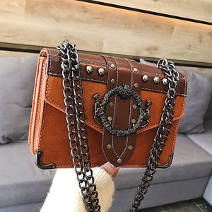Women's Designer Handbag Rivet Lock Chain Shoulder Square Bag Pu Leather - Center Of Treasures