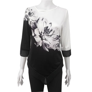 Women Shirt Floral Plus Size Blouse 3/4 Sleeve Casual Hem Irregularity Tops