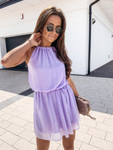 Summer Halter Tops outfit Solid Off Shoulder Dress Women Casual Loose Sleeveless Lace Up Waist Mini