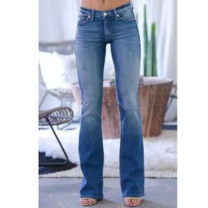 Women Ripped Jeans Slim Vintage Bell Bottom Jeans Wide Leg Plus Size Flare - Center Of Treasures